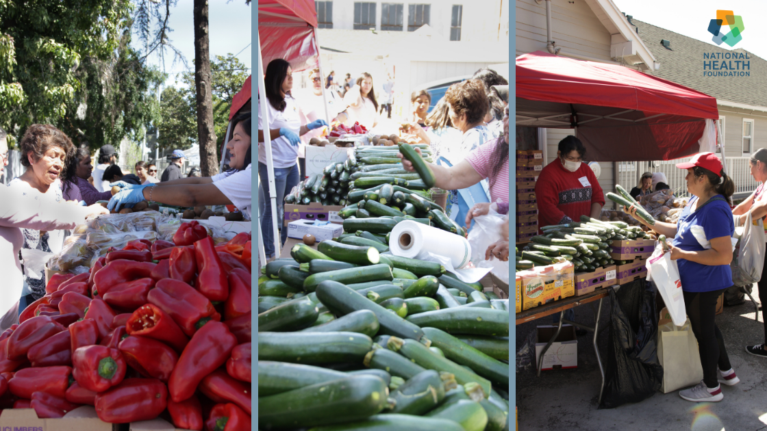 A collage of community members selecting produce at NHF's Resource Fair in April 2019